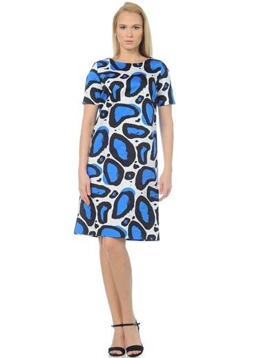 Cotton Bar Kısa Kollu Desenli Elbise Mavi